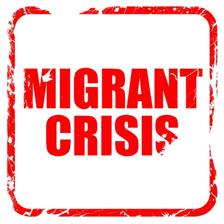 migrant: migrant crisis, red rubber stamp with grunge edges Stock Photo