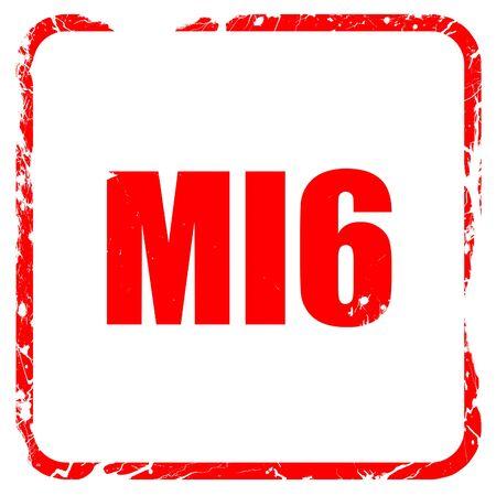 mi6 secret service, red rubber stamp with grunge edges