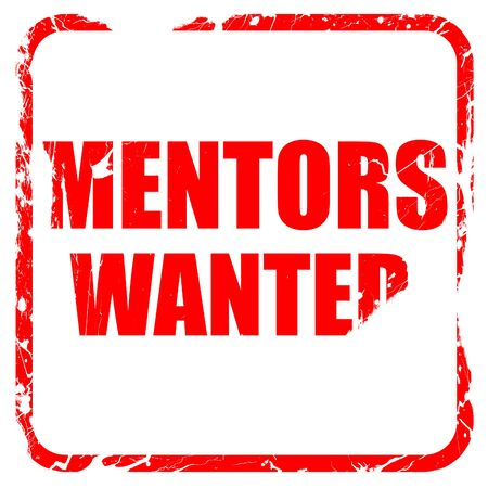 mentors: mentors wanted, red rubber stamp with grunge edges Stock Photo
