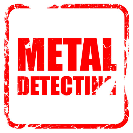 detecting: metal detecting, red rubber stamp with grunge edges Stock Photo
