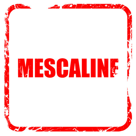 mescaline: mescaline, red rubber stamp with grunge edges