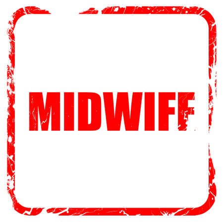 midwife: midwife, red rubber stamp with grunge edges
