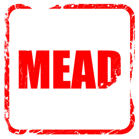 mead: mead, red rubber stamp with grunge edges