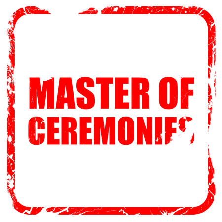 master degree: master of ceremonies, red rubber stamp with grunge edges