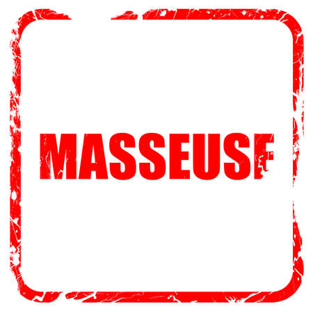 masseuse: masseuse, red rubber stamp with grunge edges