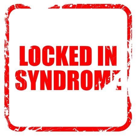 locked in: locked in syndrome, red rubber stamp with grunge edges Stock Photo