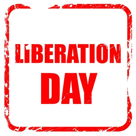 liberation: liberation day, red rubber stamp with grunge edges