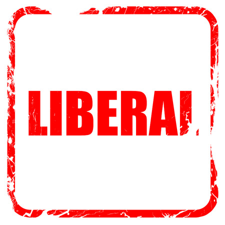 liberal: liberal, red rubber stamp with grunge edges