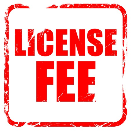 fee: license fee, red rubber stamp with grunge edges Stock Photo