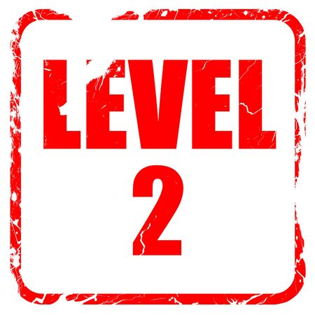 xp: level 2, red rubber stamp with grunge edges