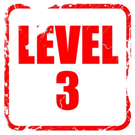 xp: level 3, red rubber stamp with grunge edges Stock Photo