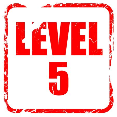 xp: level 5, red rubber stamp with grunge edges Stock Photo