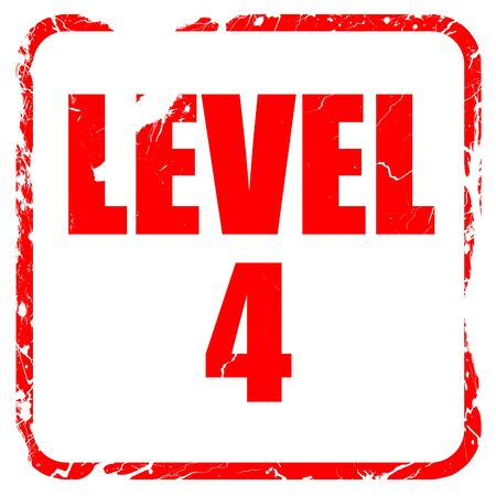 xp: level 4, red rubber stamp with grunge edges