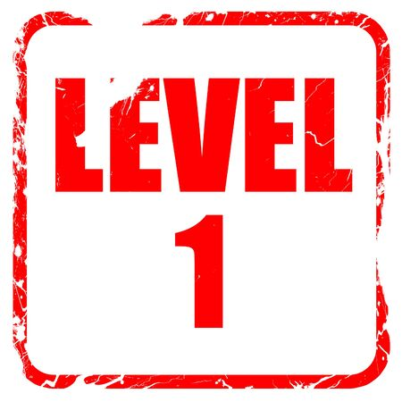 xp: level 1, red rubber stamp with grunge edges