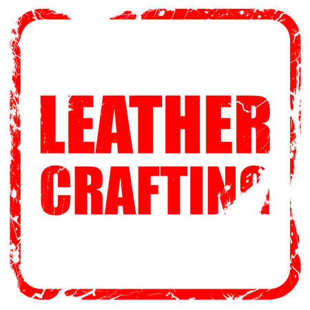 workmanship: leather crafting, red rubber stamp with grunge edges