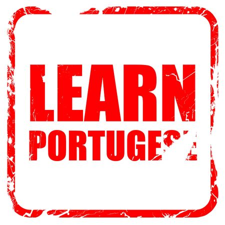 portugese: learn portugese, red rubber stamp with grunge edges Stock Photo