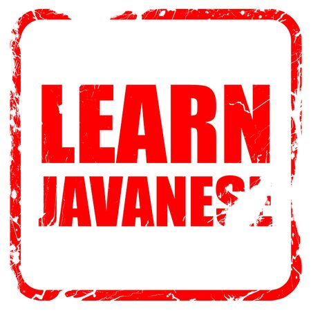javanese: learn javanese, red rubber stamp with grunge edges Stock Photo