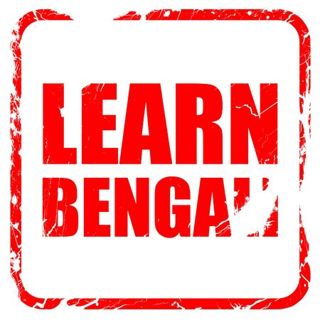 bengali: learn bengali, red rubber stamp with grunge edges