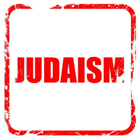 judaism: judaism, red rubber stamp with grunge edges