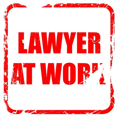 solicitor: lawyer at work, red rubber stamp with grunge edges