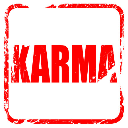 forthcoming: karma, red rubber stamp with grunge edges