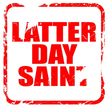 latter: latter day saint, red rubber stamp with grunge edges Stock Photo