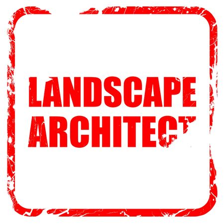 landscape architecture: landscape architect, red rubber stamp with grunge edges Stock Photo