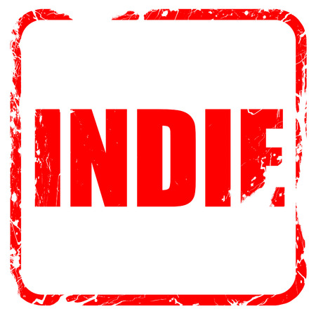 indie: indie, red rubber stamp with grunge edges Stock Photo