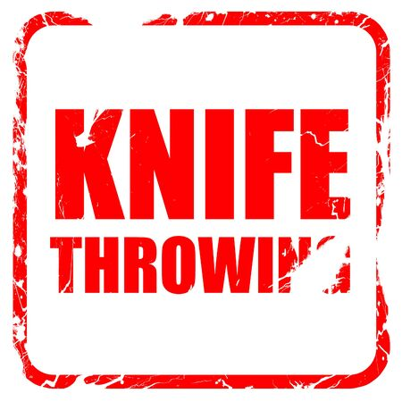throwing knife: knife throwing, red rubber stamp with grunge edges