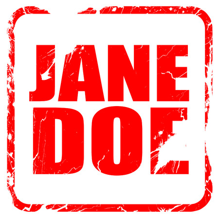jane: jane doe, red rubber stamp with grunge edges