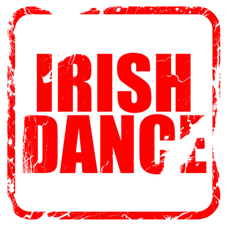 triskele: irish dance, red rubber stamp with grunge edges