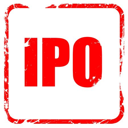 initial public offerings: ipo, red rubber stamp with grunge edges Stock Photo