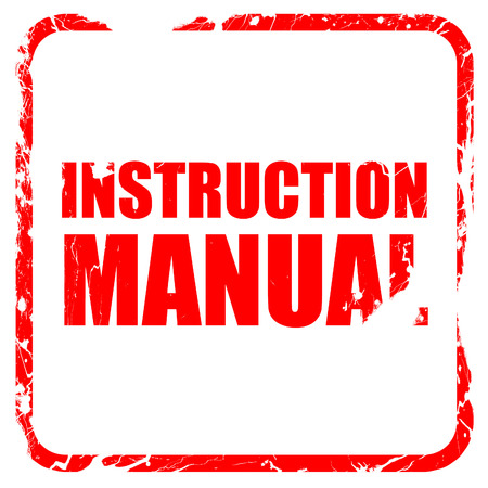 instruction manual: instruction manual, red rubber stamp with grunge edges Stock Photo