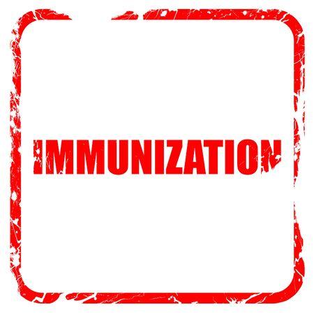 immunization: immunization, red rubber stamp with grunge edges