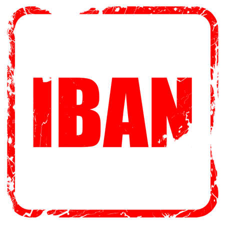 international bank account number: iban, red rubber stamp with grunge edges