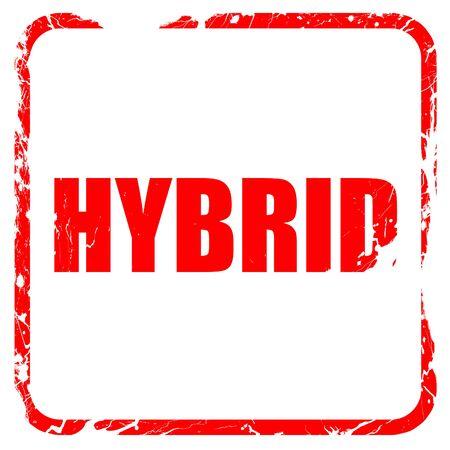 hybrid: hybrid, red rubber stamp with grunge edges