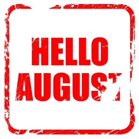 rejuvenation: hello august, red rubber stamp with grunge edges