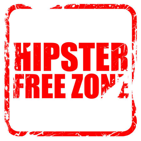 restaurateur: hipster free zone, red rubber stamp with grunge edges Stock Photo