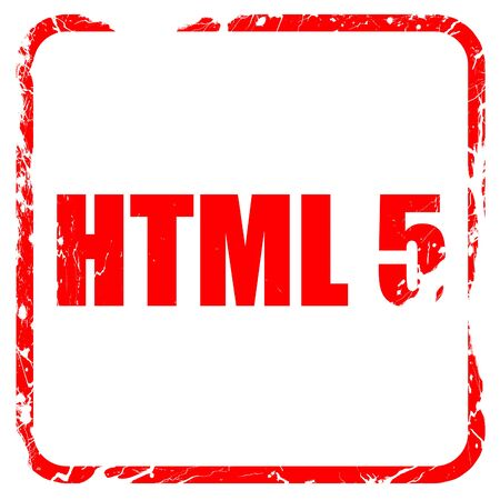 html 5: html 5, red rubber stamp with grunge edges
