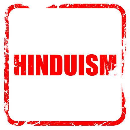 hinduism: hinduism, red rubber stamp with grunge edges