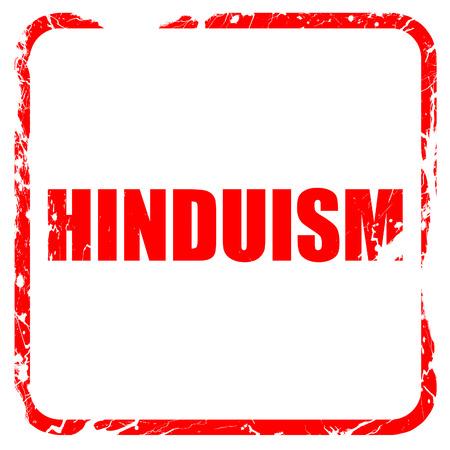 hinduism: hinduismo, sello de goma de color rojo con bordes grunge Foto de archivo