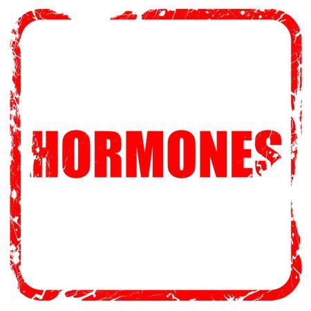 hormonas: hormonas, sello de goma de color rojo con bordes grunge