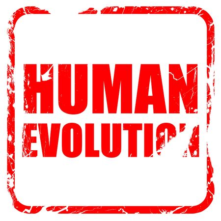 human evolution: human evolution, red rubber stamp with grunge edges