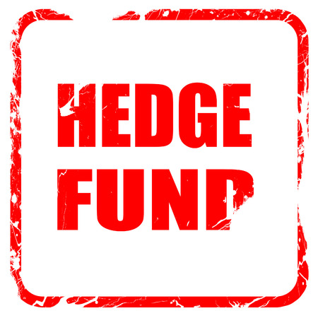 wallstreet: hedge fund, red rubber stamp with grunge edges