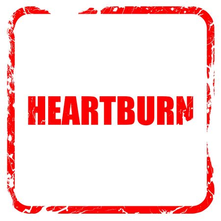 heartburn: heartburn, red rubber stamp with grunge edges