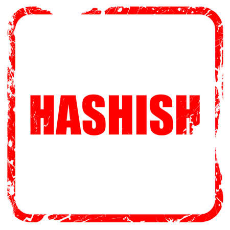 hashish: hashish, red rubber stamp with grunge edges