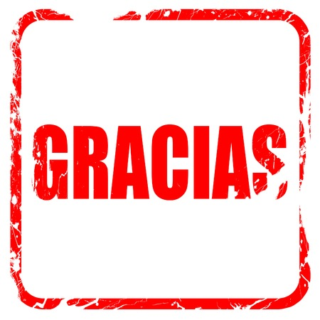 gracias, red rubber stamp with grunge edges