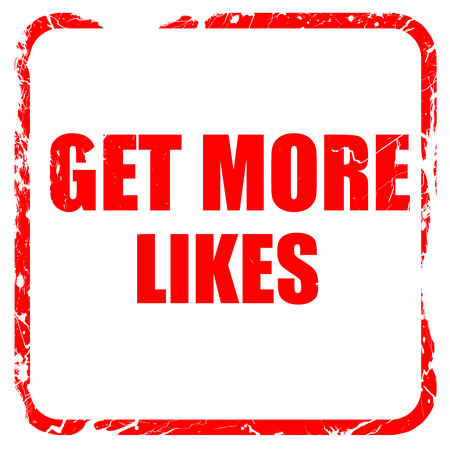 likes: get more likes, red rubber stamp with grunge edges