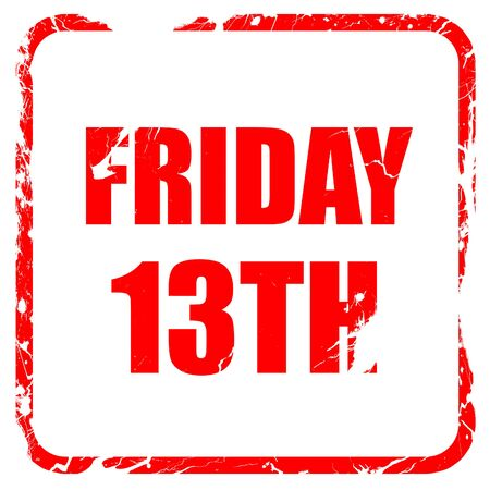 13th: friday 13th, red rubber stamp with grunge edges