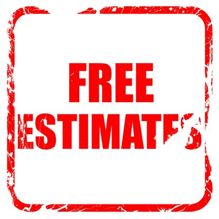 estimating: free estimate, red rubber stamp with grunge edges